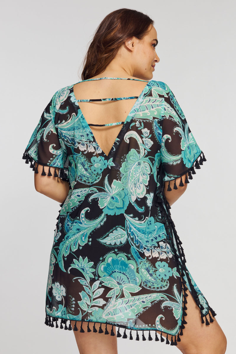 Plus Kaftan Coverup with Tassel Trim in Floral Paisley Mint