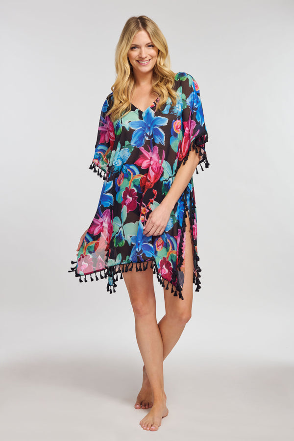 Kaftan Coverup with Tassel Trim in Garden Floral Black