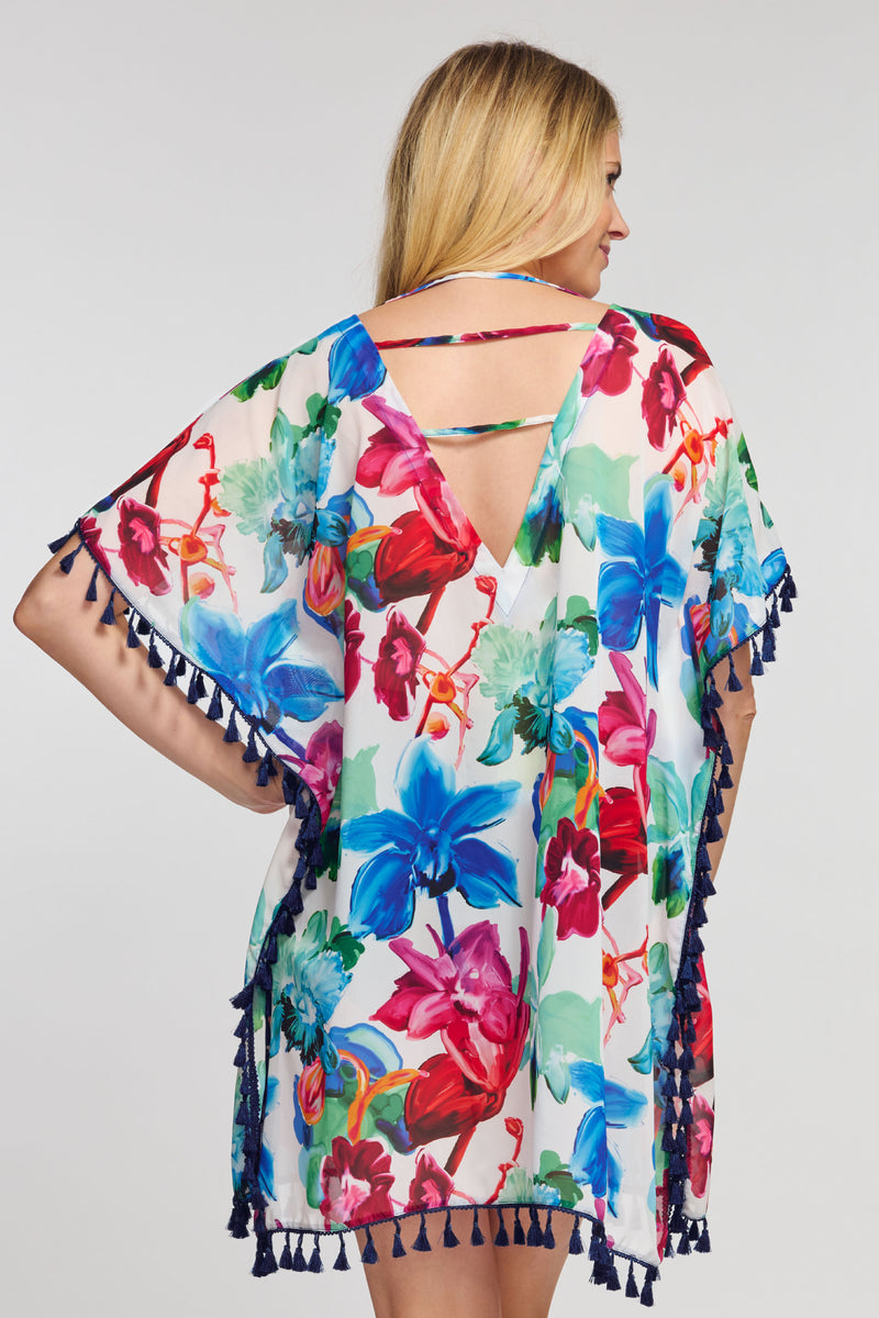 Kaftan Coverup with Tassel Trim in Garden Floral White