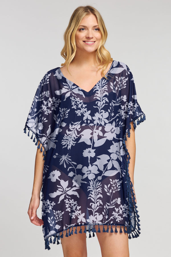 Kaftan Coverup with Tassel Trim in Silhouette Floral