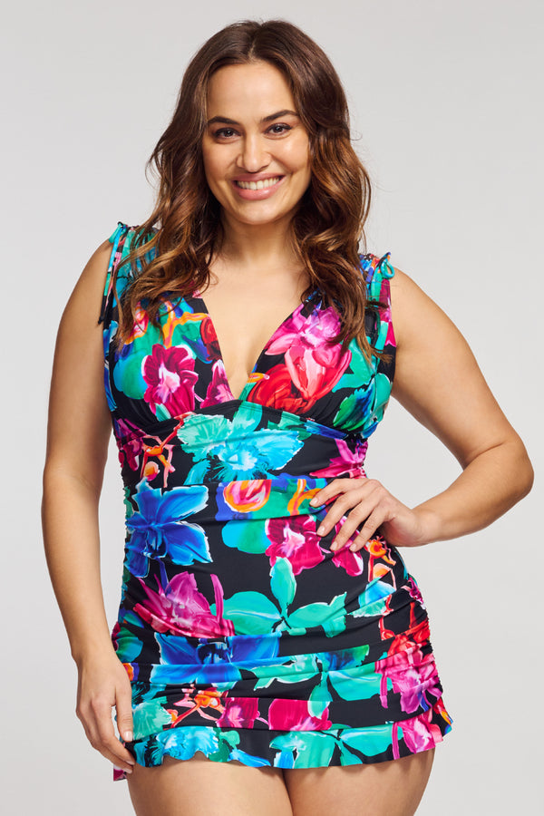 Plus Size Grecian Skater Ruched One Piece Swimdress in Garden Floral Black