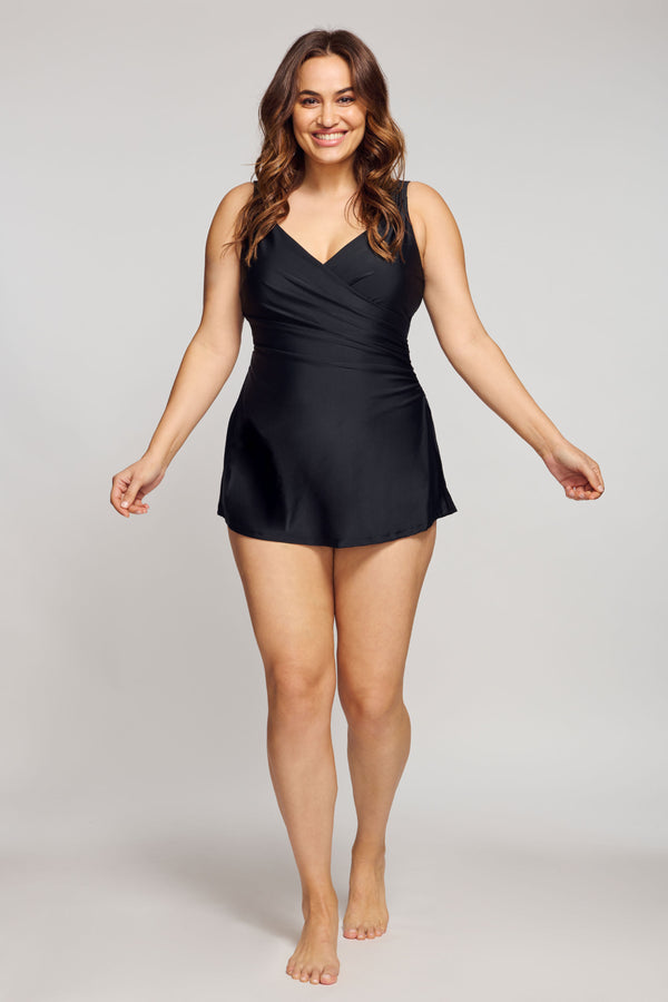 Plus Size Wrap Swim Dress One Piece in Solid Black