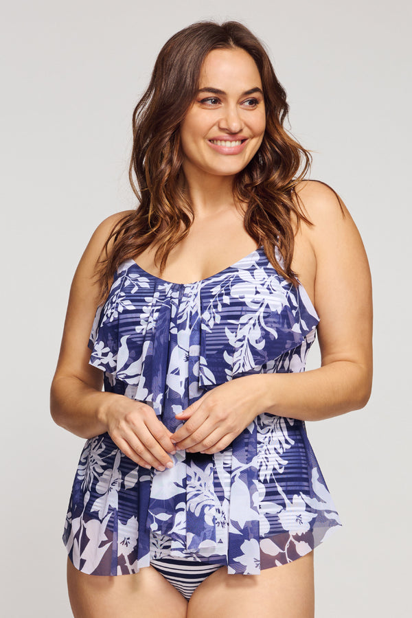 Plus Size Draped Tier Mesh One Piece Swimsuit in Silhouette Floral