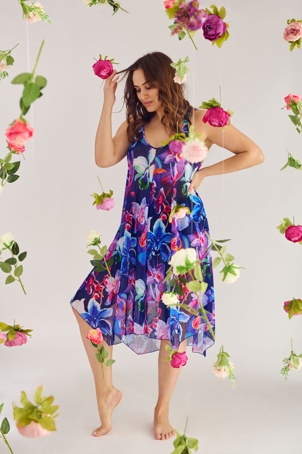 Plus Size Mid Length Flowy Mesh Coverup Tank Dress in Garden Floral