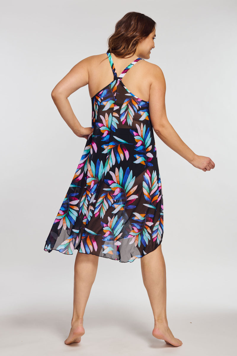 Plus Size Mid Length Flowy Mesh Coverup Tank Dress in Watercolor Palm