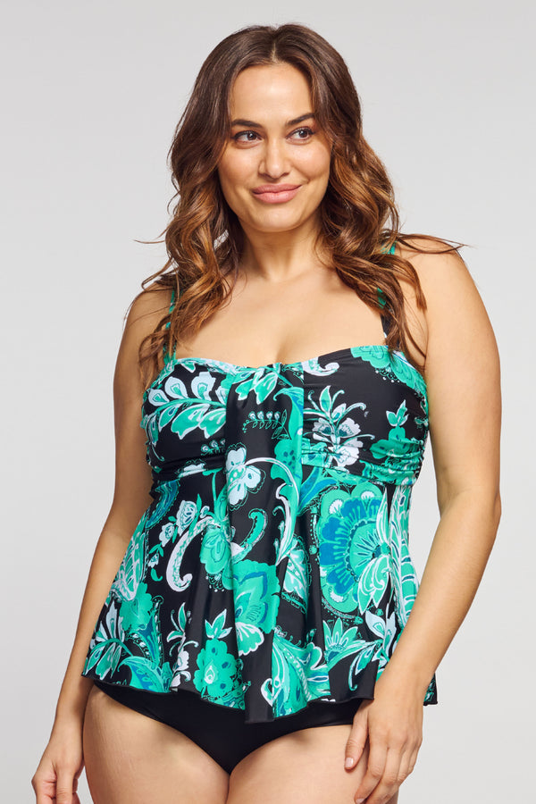 Plus Size Drape Bandeau Tankini Top in Floral Paisley Mint