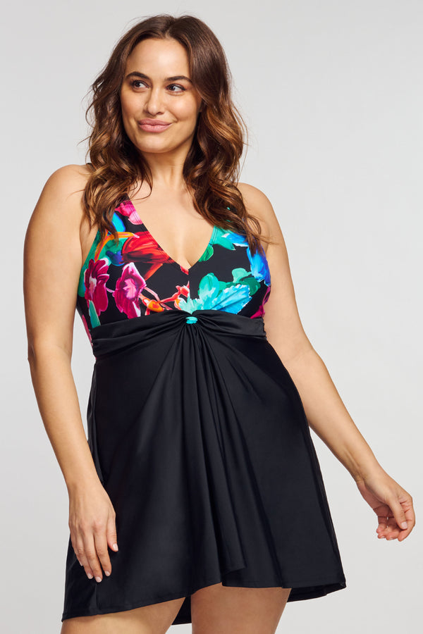 Plus Size Twist Knot One Piece Swimdress in Garden Floral