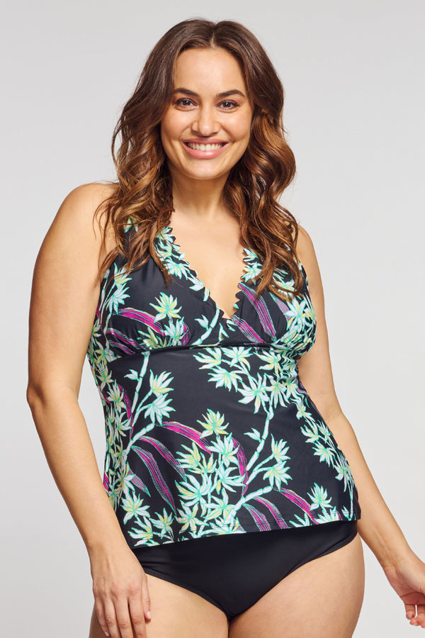 Plus Size Scallop Neckline Halter Tankini Top in Bamboo