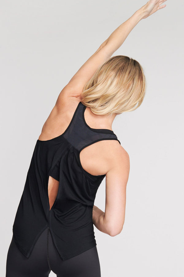 Ultra Soft Flow Tank Top with Keyhole Back in Solid Black