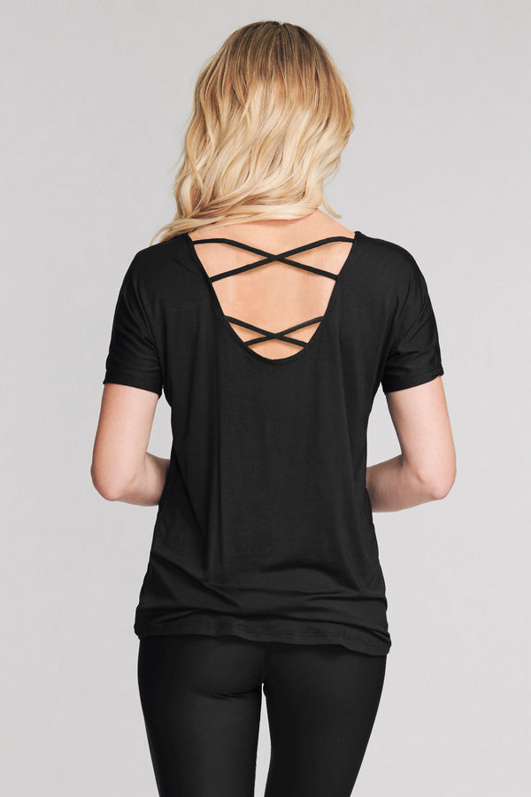 Ultra Soft Scoop Back Lattice Dolman Tee in Solid Black