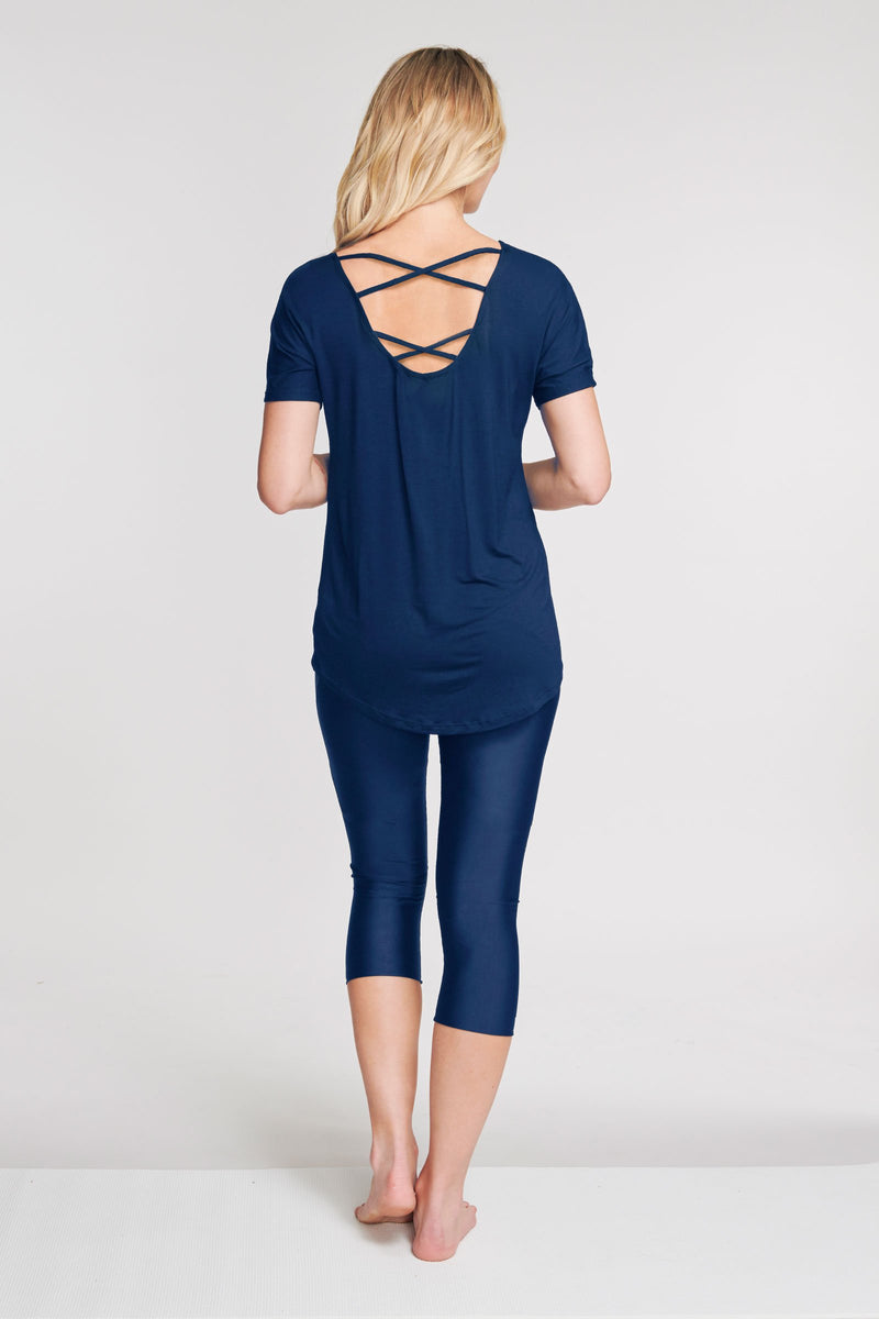 Ultra Soft Scoop Back Lattice Dolman Tee in Solid Navy