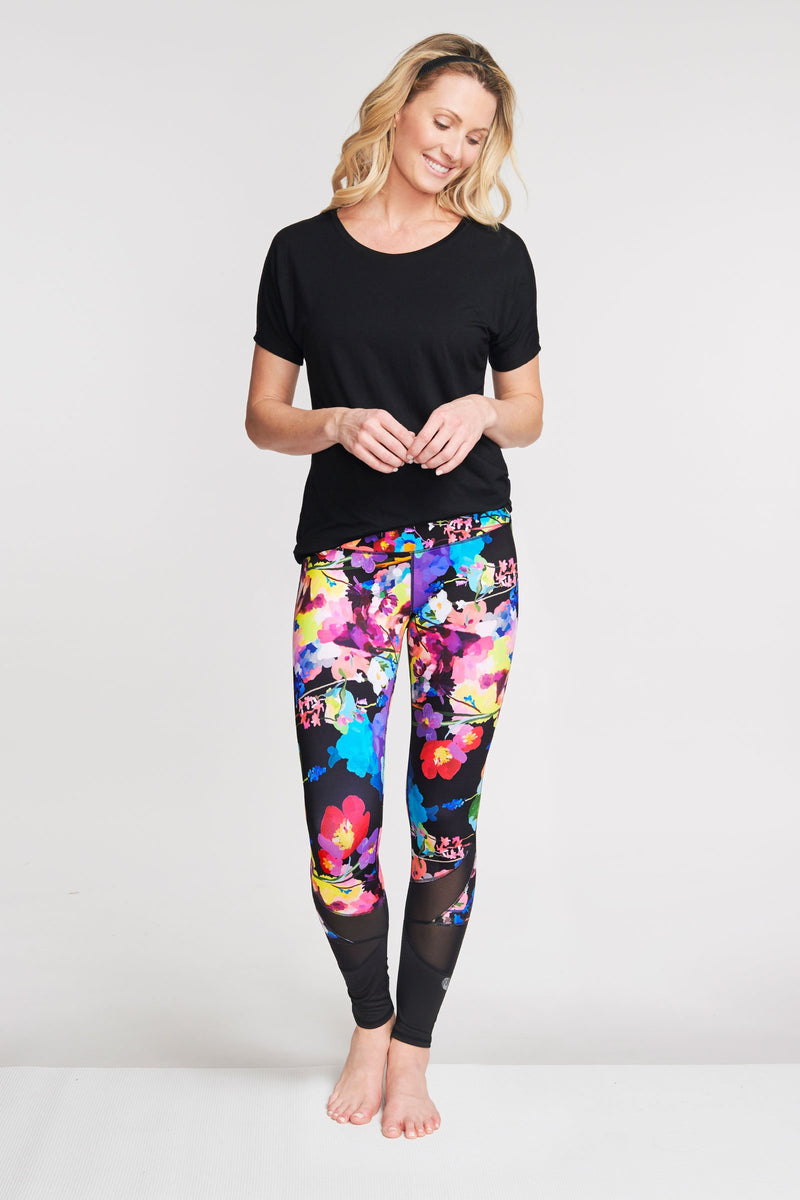 High Waisted Slimming Full Length Legging in Le Jardin