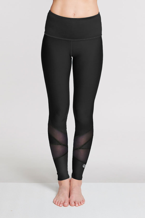 High Waisted Slimming Full Length Legging in Solid Black