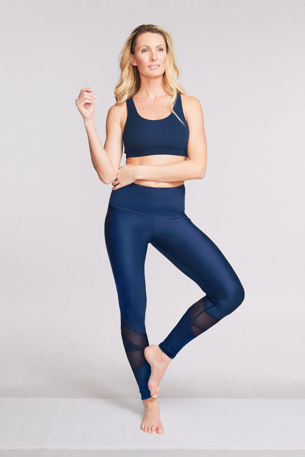 High Waisted Slimming Full Length Legging in Solid Navy