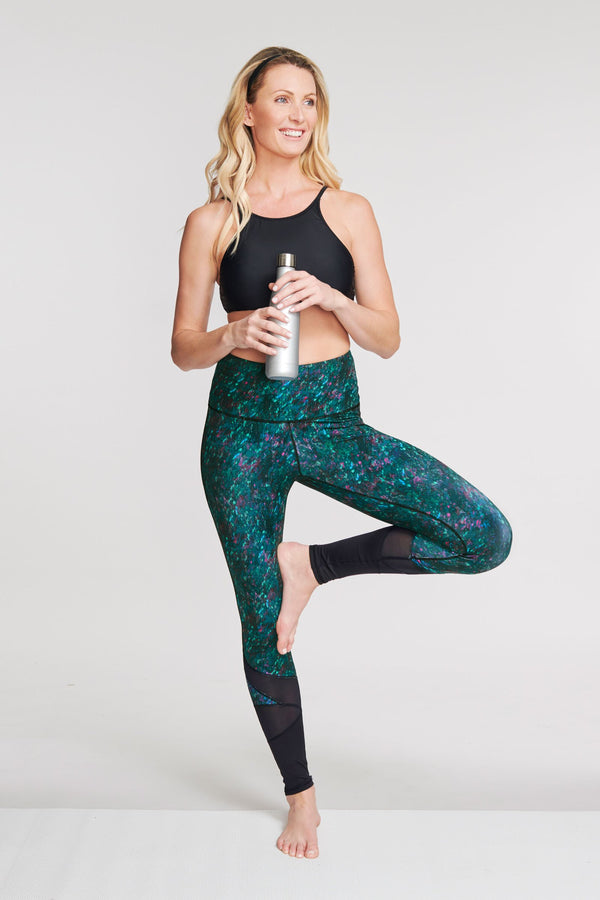 High Waisted Slimming Full Length Legging in Moving Waters Green