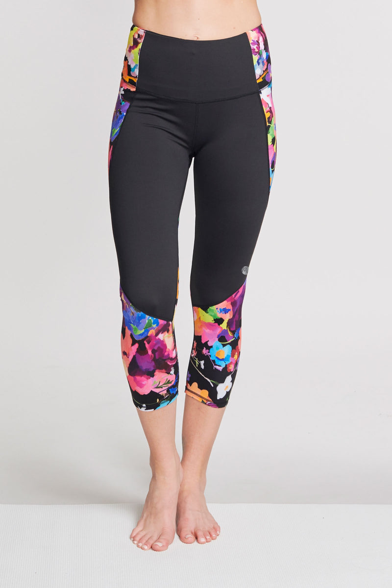 High Waisted Slimming Cropped Legging in Le Jardin