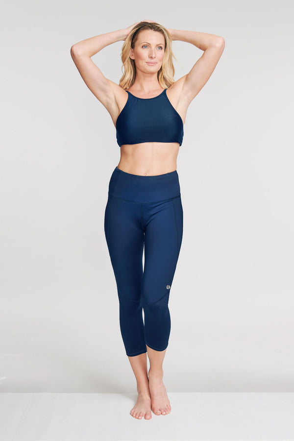 High Waisted Slimming Cropped Legging in Solid Navy