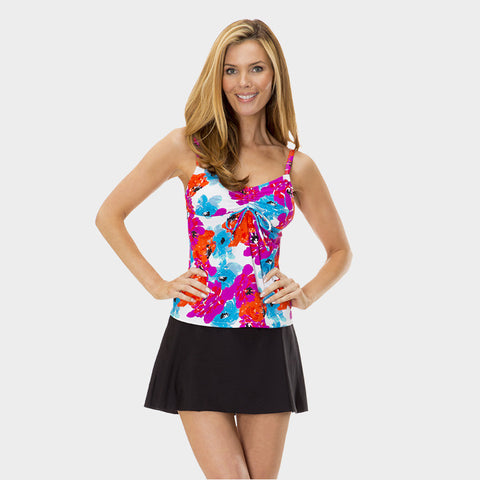 Drawstring Tankini Top in Bayshore Bloom by Mazu Swim - Mazu Swim - 1