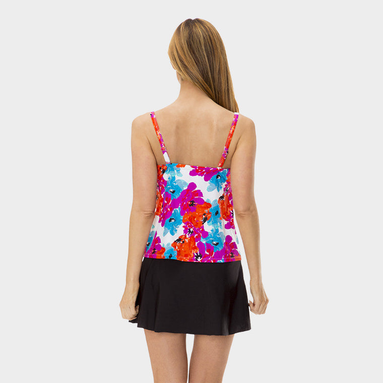 Drawstring Tankini Top in Bayshore Bloom by Mazu Swim - Mazu Swim - 4