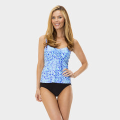 Drawstring Tankini Top in Kara's Karma by Mazu Swim - Mazu Swim - 1