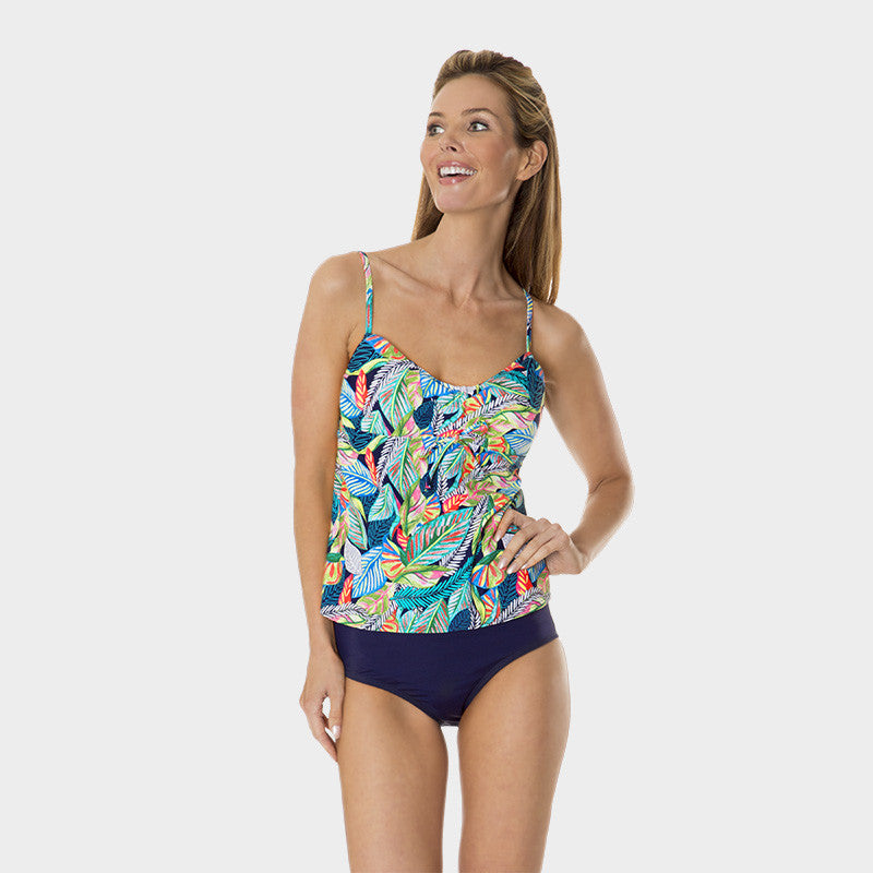 Drawstring Tankini Top in Leaf Play by Mazu Swim - Mazu Swim - 1