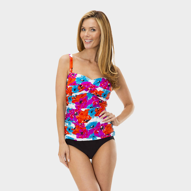 Twist Front Ruched Tankini Top in Bayshore Bloom by Mazu Swim