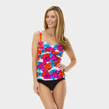 Twist Front Ruched Tankini Top in Bayshore Bloom by Mazu Swim - Mazu Swim - 1