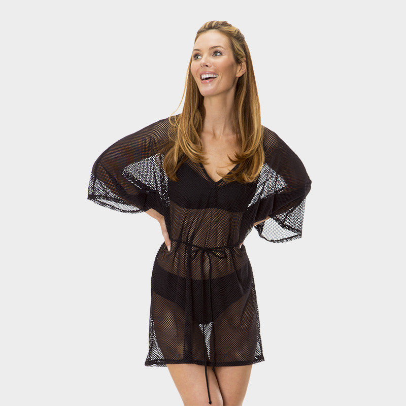 Mesh Tunic with Adjustable Waist Tie in Solid Black by Mazu Swim - Mazu Swim - 1