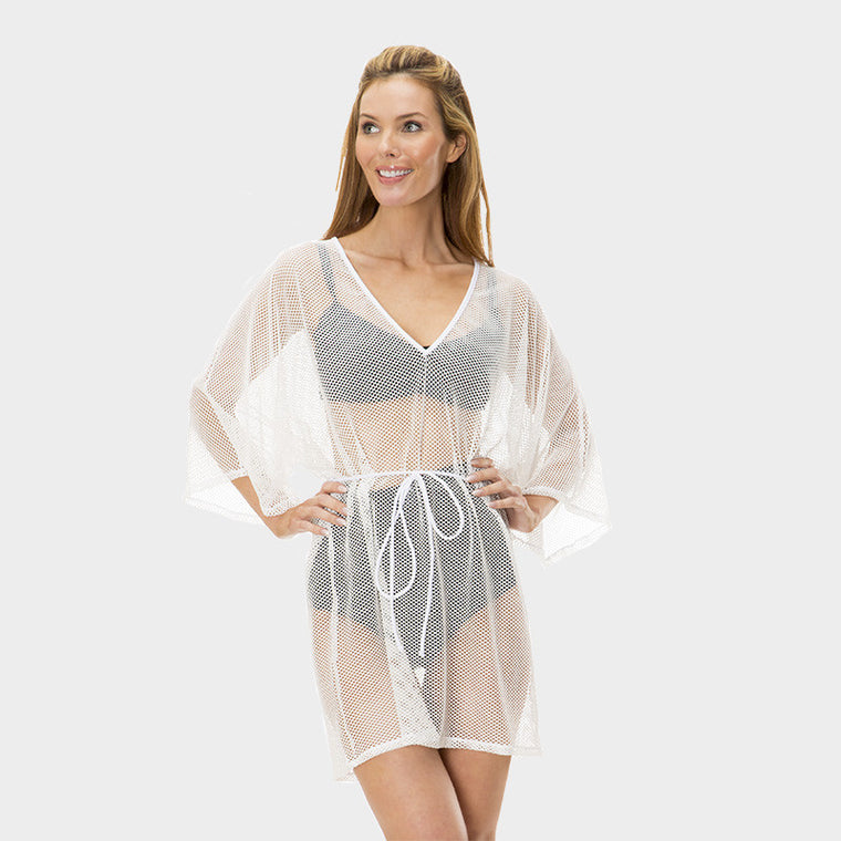Mesh Tunic with Adjustable Waist Tie in Solid White by Mazu Swim