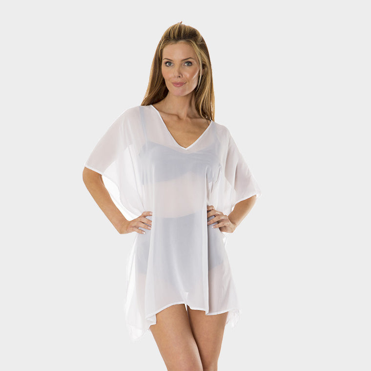 Poly Chiffon Coverup in Solid White by Mazu Swim