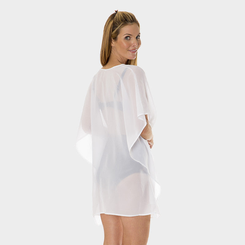 Poly Chiffon Coverup in Solid White by Mazu Swim - Mazu Swim - 2