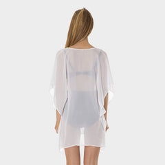 Poly Chiffon Coverup in Solid White by Mazu Swim - Mazu Swim - 4