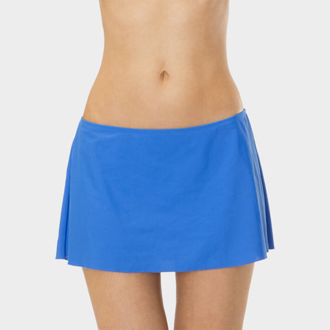 A-Line Skirt with Attached Brief in Solid Blue by Mazu Swim - Mazu Swim - 1