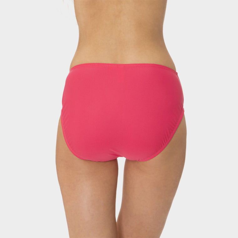 Mid Waist Brief with Power Mesh Panel in Solid Pink by Mazu Swim - Mazu Swim - 2