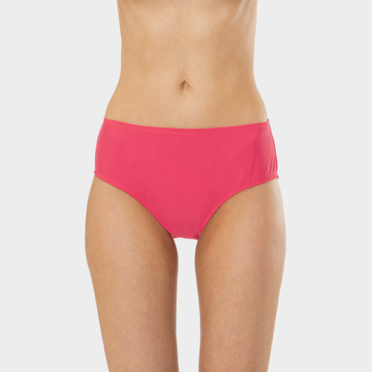Mid Waist Brief with Power Mesh Panel in Solid Pink by Mazu Swim