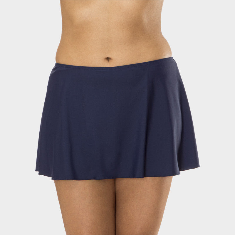 Plus Size A-Line Skirt with Attached Brief in Solid Navy by Mazu Swim - Mazu Swim - 1