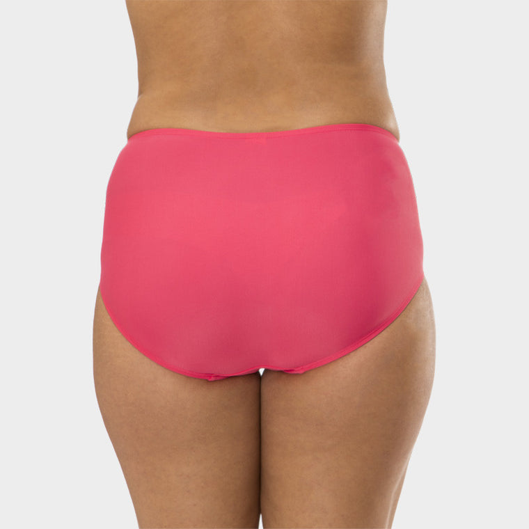 Plus Size Mid Waist Brief with Power Mesh Panel in Solid Pink by Mazu Swim - Mazu Swim - 3