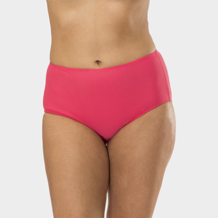 Plus Size Mid Waist Brief with Power Mesh Panel in Solid Pink by Mazu Swim