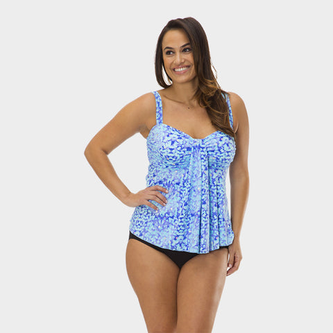 Plus Size Drape Bandeau Tankini Top in Kara's Karma by Mazu Swim - Mazu Swim - 1
