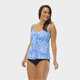 Plus Size Drape Bandeau Tankini Top in Kara's Karma by Mazu Swim - Mazu Swim - 3
