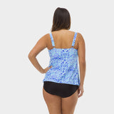 Plus Size Drape Bandeau Tankini Top in Kara's Karma by Mazu Swim - Mazu Swim - 2