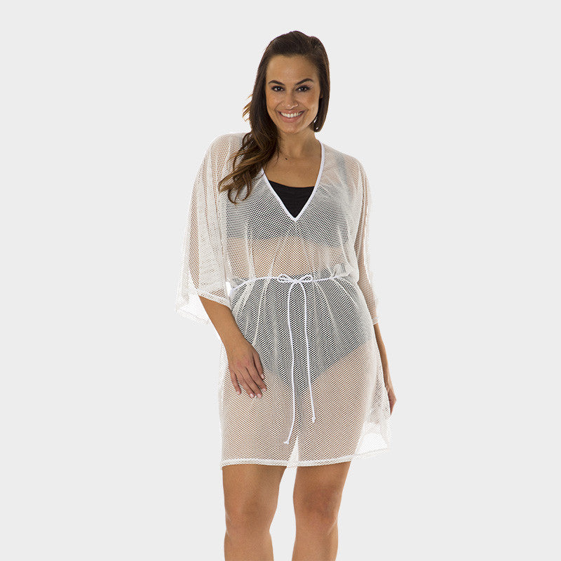 Plus Size Mesh Tunic with Adjustable Waist Tie in Solid White by Mazu Swim - Mazu Swim - 1