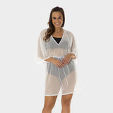 Plus Size Mesh Tunic with Adjustable Waist Tie in Solid White by Mazu Swim - Mazu Swim - 3