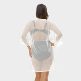 Plus Size Mesh Tunic with Adjustable Waist Tie in Solid White by Mazu Swim - Mazu Swim - 2