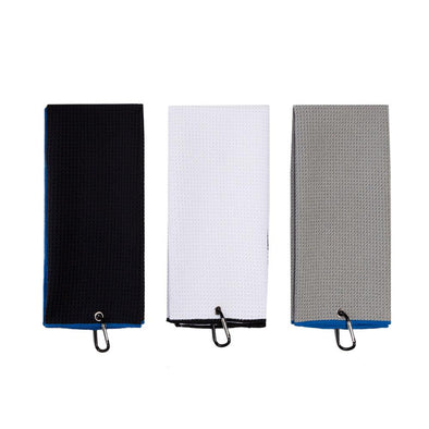 Microfiber Deep Waffle Weave Golf Towel Light Weight Quick Drying for Cleaning Clubs Irons Drivers With Carabiner