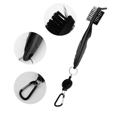 Mini Golf Club Brush Double Side Golf Brass Golf Club Head Groove Cleaner Brush Cleaning Tool Kit with Hanger Golf Accessories