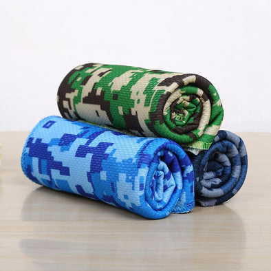 Printed Camouflage Ice Towel Cold Sense Cooling Ice Outdoor Sports Towel Outdoor Sports Yoga Fitness Hand Towel Golf Swim Towel