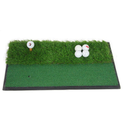 2 in 1 Golf Premium Practice Turf Hitting Nylon Grass Mat -Rough & Fairway  Portable Training Pad