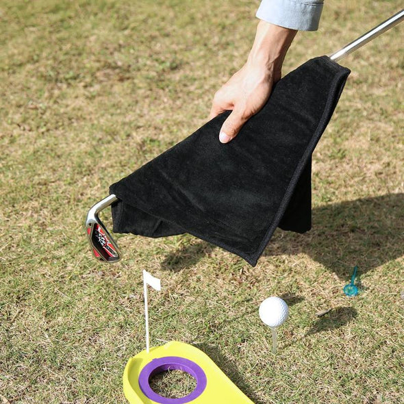 Multifunction Golf Bag Towel Comfortable Sport Waterproof Rain Cover Protection Hand Towel Rainproof Cleaning Cloth 34X32cm