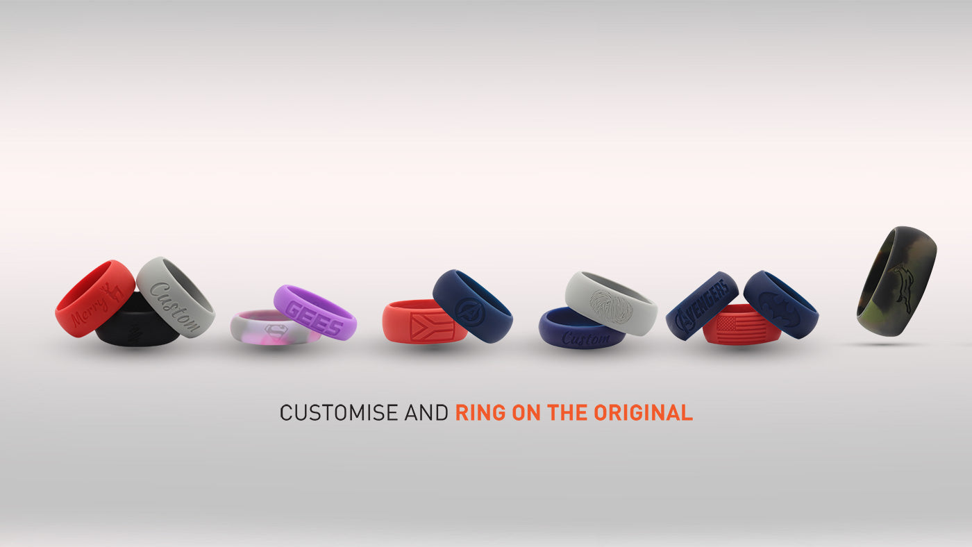 E3 Active Silicone wedding ring with personalizing option to customize  your silicone ring